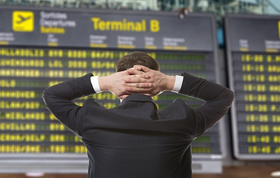 Man frustrated at airport