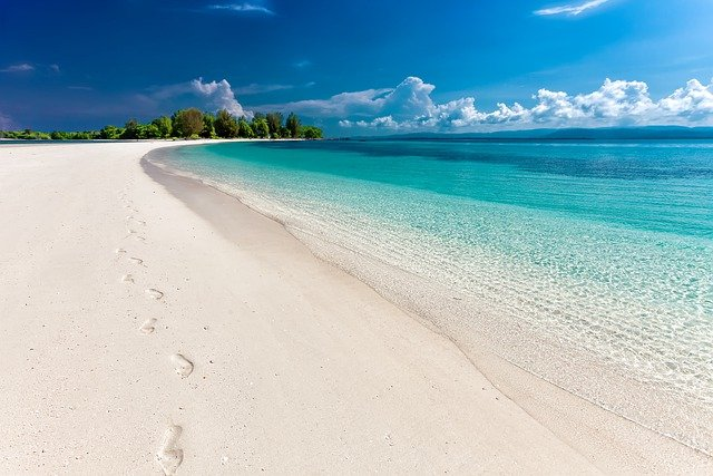 sandy beach with footprints